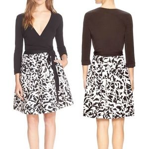 DVF Black and White Wrap Dress